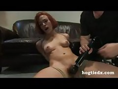 Hogtied Renee Broadway pussy toyed