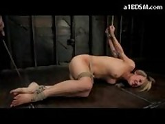 Hogtied Girl Laying On The Floor Getting Her Pussy Fucked With Dildo Hook To Ass In The Dungeon