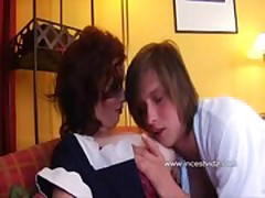 Charming lovely busty mother fucking with son at home