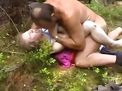 Blonde teen busty slut victimized outdoors