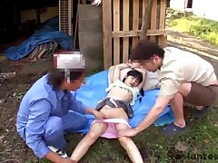 Tiny Japanese Gangbang in the garden